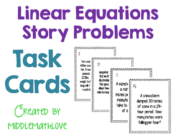 Linear Equations Story Problem Task Cards (Slope Intercept Form y=mx+b)