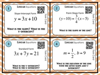 Linear Equations Task Cards