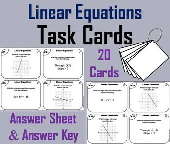 Solving Linear Equations Task Cards/ Slope Intercept Equation Task Cards