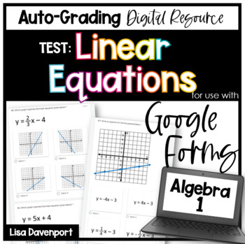 Linear Equations Test Review- for use with Google Forms