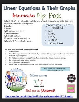 Linear Equations & Their Graphs Interactive Flip Book