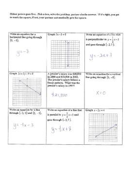 Linear Equations Tic Tac Toe Game