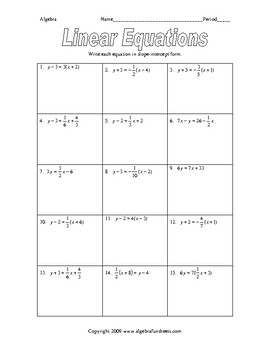 Writing Equations of Lines in Slope-Intercept Form (Fractions) Worksheet
