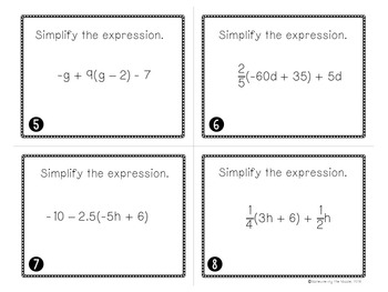 Linear Equations Unit Task Cards