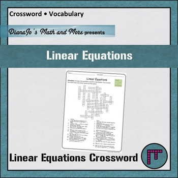 Linear Equations Vocabulary Crossword
