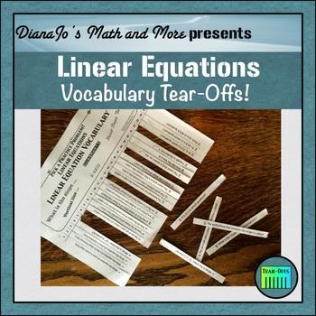 Linear Equations Vocabulary Tear-Offs