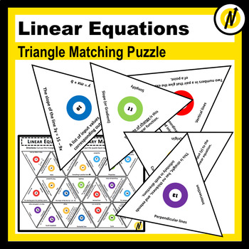 Linear Equations Vocabulary Triangle Matching Puzzle