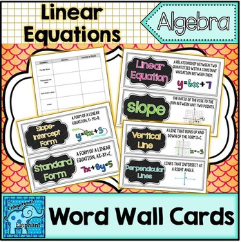 Linear Equations Vocabulary Word Wall Cards
