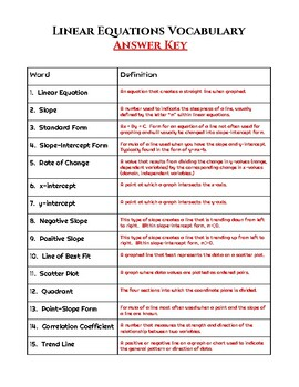 Linear Equations Vocabulary Worksheet and Quiz (plus answer keys)