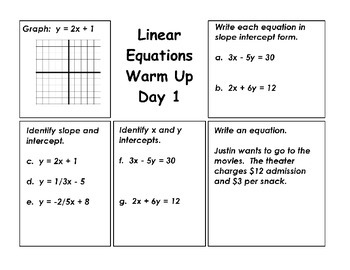 Linear Equations Warm Ups