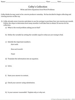 Linear Equations Word Problems Discovery Worksheet And Practice Tpt