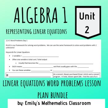 Linear Equations Word Problems Lesson Plan Bundle