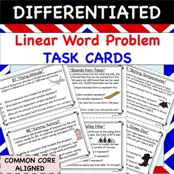 Linear Equations Word Problems TASK CARDS - Differentiated Activity