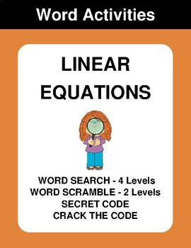 Linear Equations - Word Search, Scramble,  Secret Code,  Crack the Code