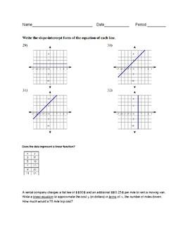 Linear Equations Worksheet