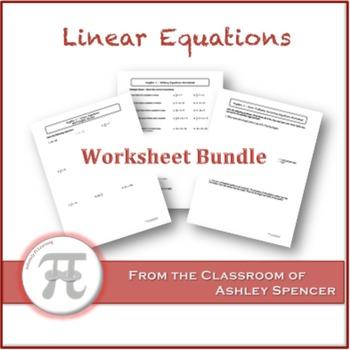 Linear Equations Worksheet Bundle