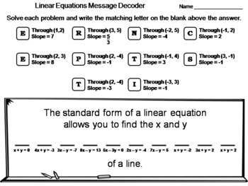 Solving Linear Equations Worksheet: Math Message Decoder