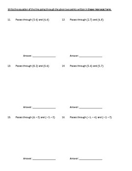 Linear Equations Wrting Slope Intercept from Point Slope Form Graphs Tables