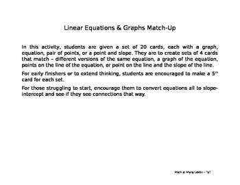 Linear Equations and Graphs Match-Up