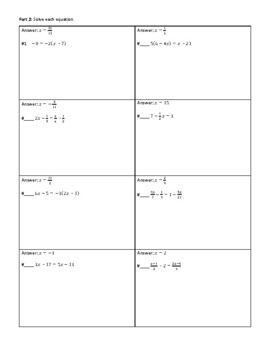 Linear Equations and Literal Equations Circuit Worksheet