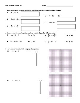 Linear Equations and Slope Test