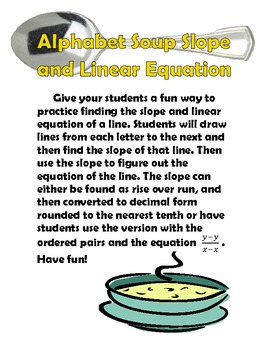 """Linear Equations and Slope in Standard Form """"Alphabet Soup"""""""