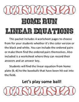 """Linear Equations and Slope in Standard Form """"Home-run Equations"""""""