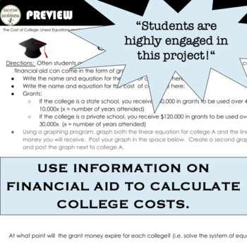Linear Equations and Systems of Equations Digital Cost of College Project