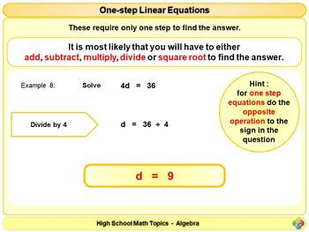 Linear Equations for High School Math