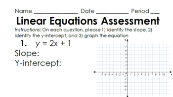 Linear Equations in Slope-Intercept Form Assessment Pack w/Keys