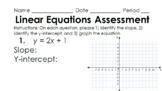 Linear Equations in Slope-Intercept Form Assessment Pack w/Keys