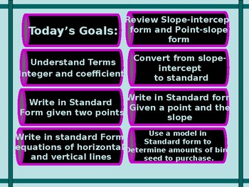 Power-Point:  Writing Linear Equations in Standard Form