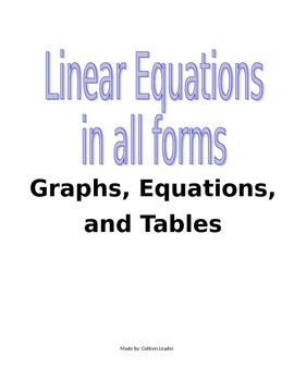 Linear Equations in all Forms