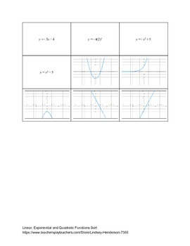 Linear, Exponential and Quadratic Equation and Graph Matching Game