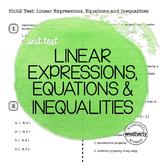 LINEAR EXPRESSIONS, EQUATIONS & INEQUALITIES Unit Test CC Algebra 1