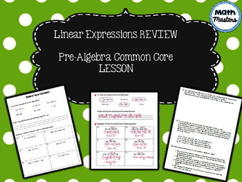 Linear Expressions Review