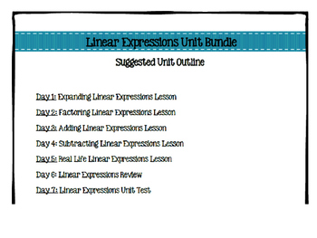 Linear Expressions Unit Bundle