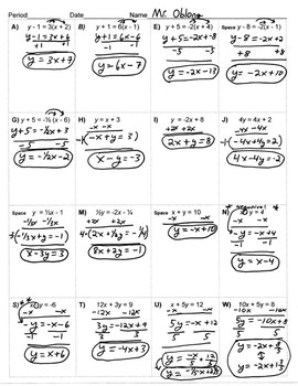 Linear Forms Of Equations Riddle: Regular Sheet, Key & Worked Out Solutions