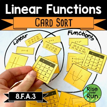 Linear or Nonlinear, Function or Not, Card Sort Activity