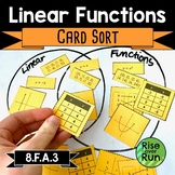 Linear Functions Card Sort Activity 8.F.A.3
