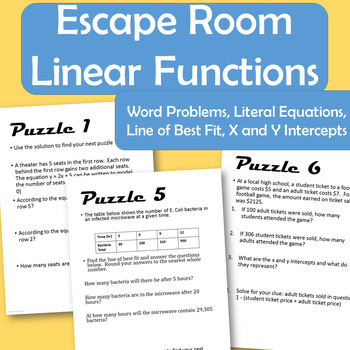 Linear Function Word Problems Teaching Resources | Teachers Pay Teachers