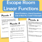 Linear Function Escape Room-7 Puzzles: linear functions and more