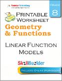 Linear Function Models Printable Worksheet, Grade 8