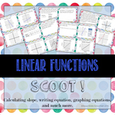Linear Function SCOOT!: Task cards that include slope and