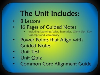 Linear Functions Unit for Algebra 1 Common Core