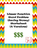 Linear Function Word Problem (Saving Money) Worksheets - 4