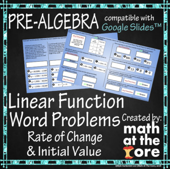 Linear Function Word Problems - GOOGLE Slides