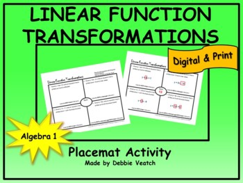 Linear FunctionTransformations Placemat Activity