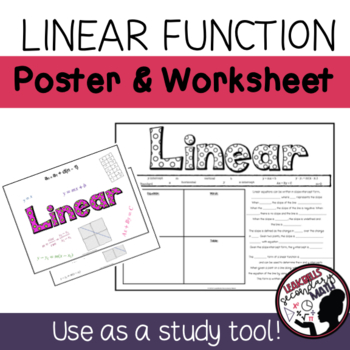 Linear Functions Poster and Worksheet
