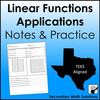 Linear Functions Applications Notes & Practice (8.5B, 8.5I, A3C)